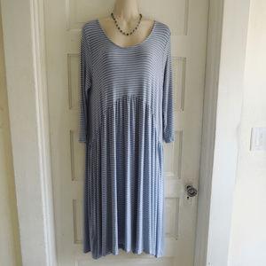 Agnes & Dora Blue and White Striped Oakley Dress L